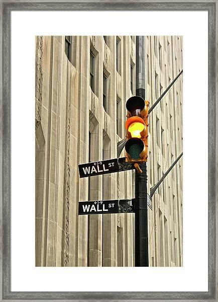 Wall Street Traffic Light Framed Print