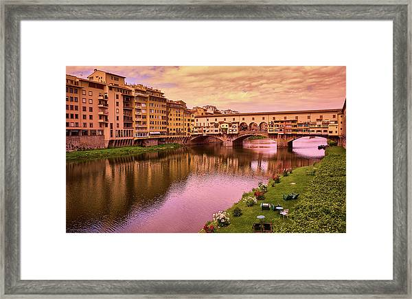 Sunset At Ponte Vecchio In Florence, Italy Framed Print