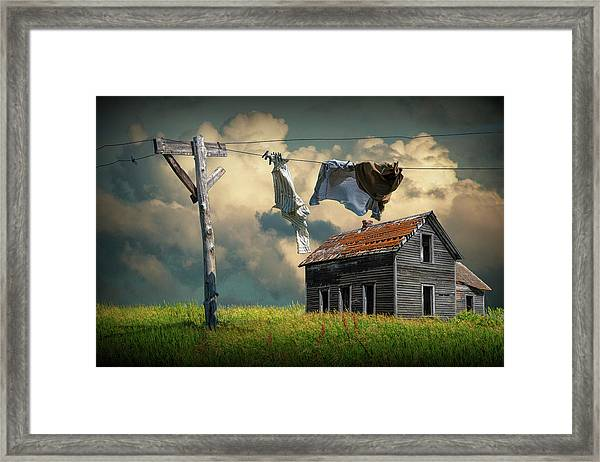 Wash On The Line By Abandoned House Framed Print