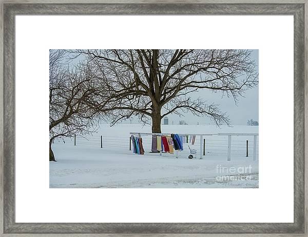 Wash On The Line In December Snow Framed Print