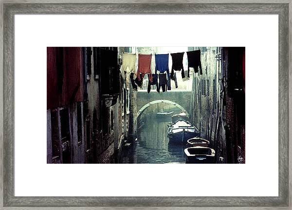 Washday In Venice Italy Framed Print