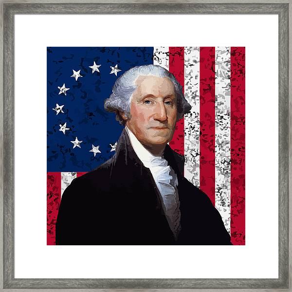 Washington And The American Flag Framed Print