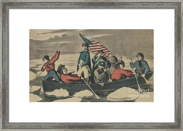 Washington Crossing The Delaware On The Evening Previous To The Battle Of Trenton Framed Print