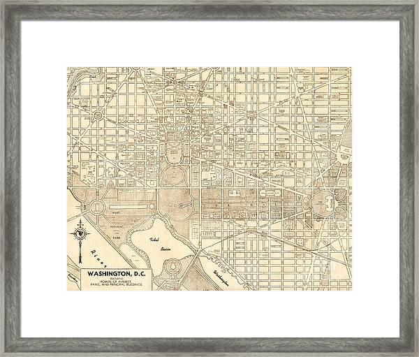 Washington Dc Antique Vintage City Map Framed Print