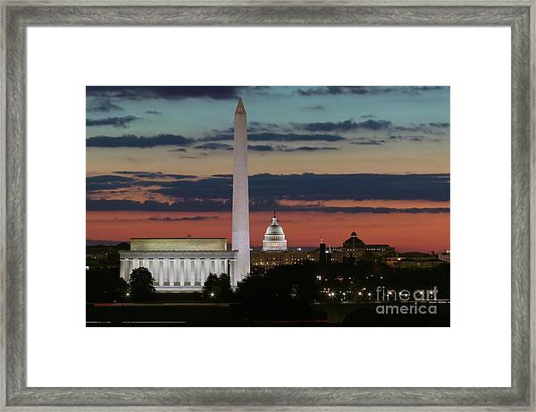 Washington Dc Landmarks At Sunrise I Framed Print