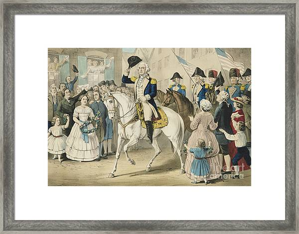 Washington Entering New York On The Evacuation Of The City By The British On Nov 25th 1783 Framed Print