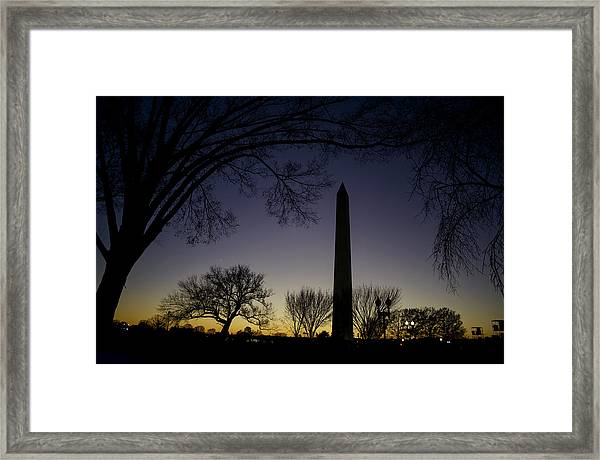 Washington Monument At Twilight With Moon Framed Print