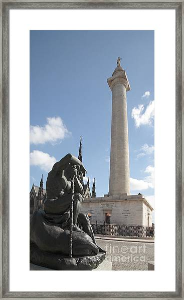 Washington Monument In Baltimore Framed Print