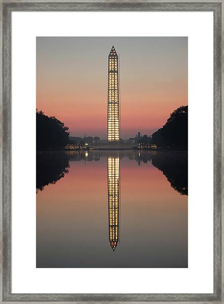 Washington Monument At Dawn Framed Print