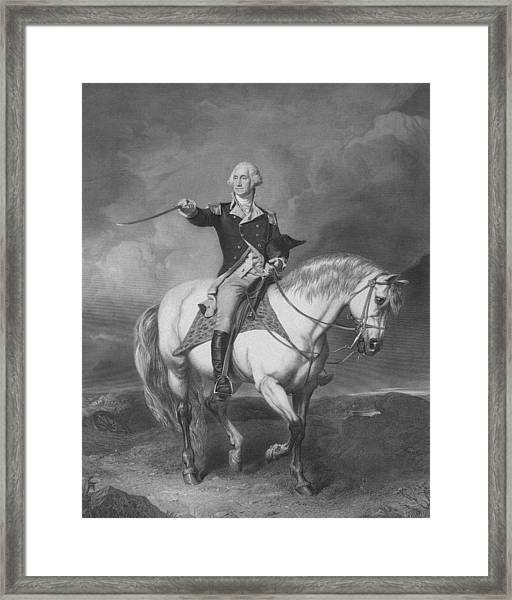 Washington Receiving A Salute At Trenton Framed Print