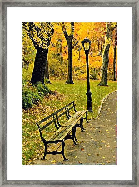 Washington Square Bench Framed Print