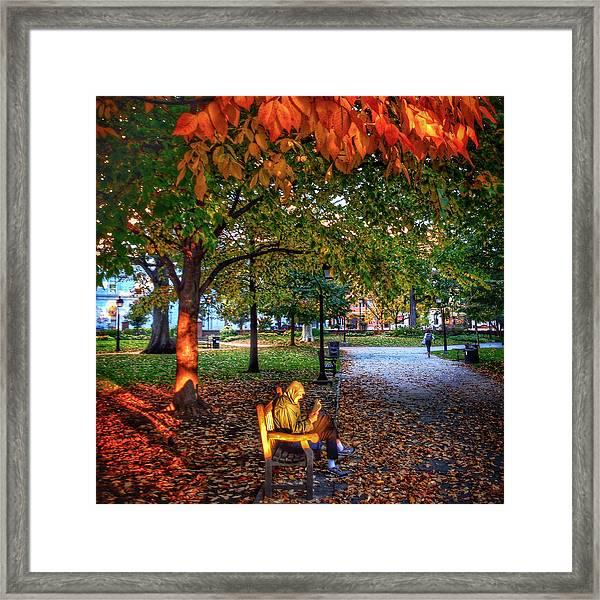 Washington Square Bench Time Framed Print