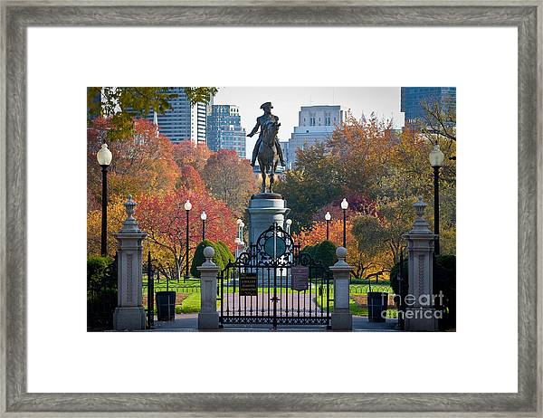 Framed Print featuring the photograph Washington Statue In Autumn by Susan Cole Kelly
