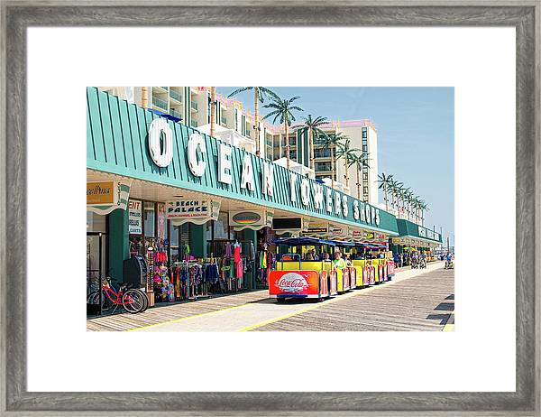 Watch The Tram Car - Wildwood, Nj Framed Print