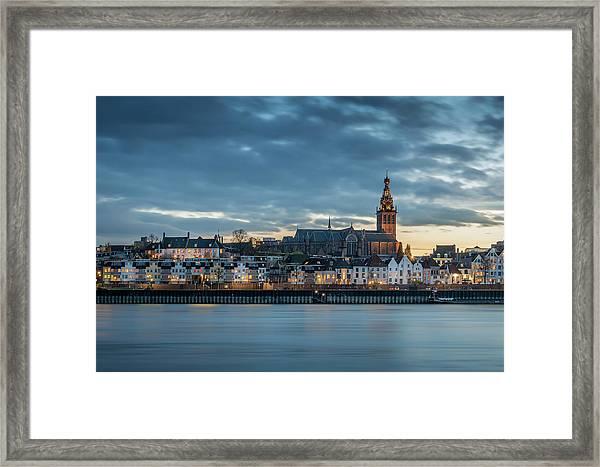 Watching The City Lights, Nijmegen Framed Print
