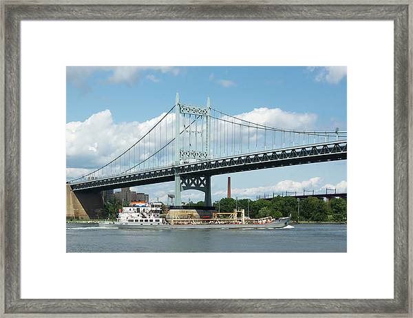 Water And Ship Under The Bridge Framed Print