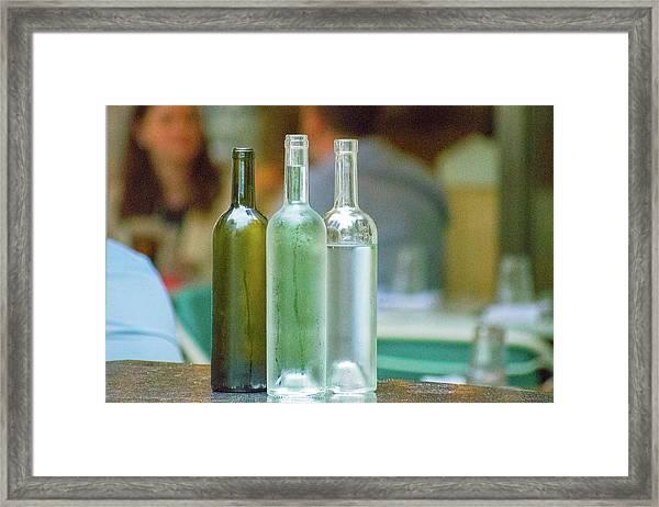 Water Bottles At New York Brasserie No 2 Framed Print