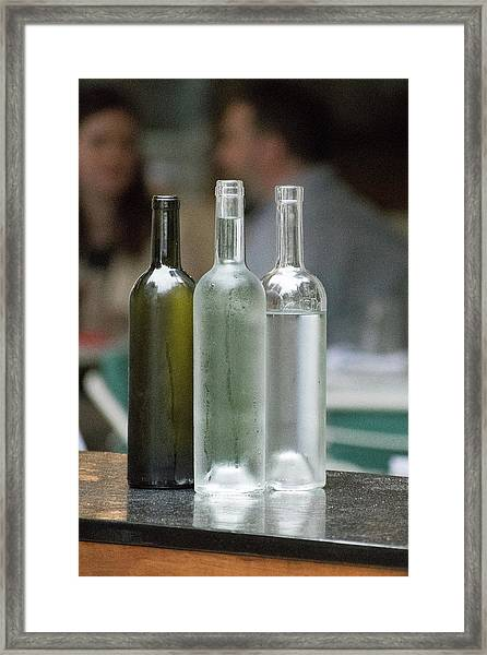 Water Bottles At The Brasserie No 1 Framed Print