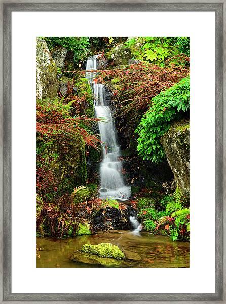 Waterfall At Kubota Garden Framed Print