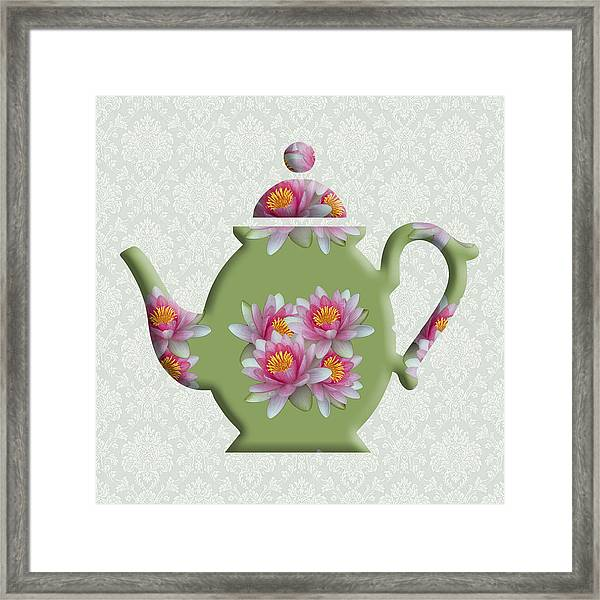 Water Lily Pattern Teapot Framed Print