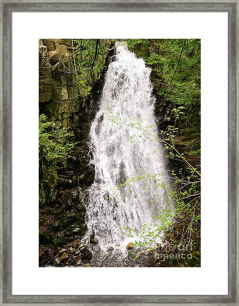 Water Roaring Down Cascade Falls, Farmington, Maine  -30377 Framed Print