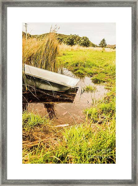 Water Troughs And Outback Farmland Framed Print