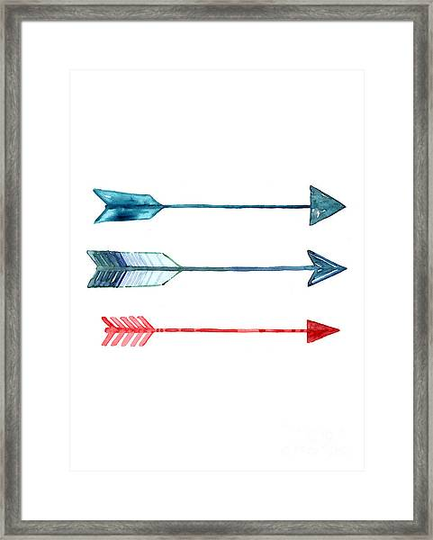 Watercolor Arrow Minimalist Painting Framed Print