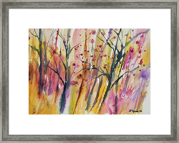 Watercolor - Autumn Forest Impression Framed Print