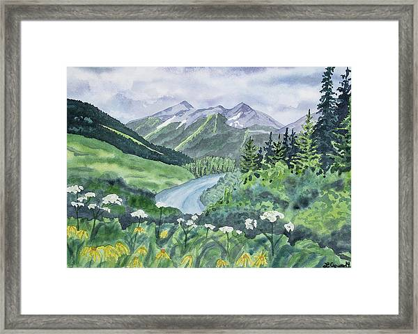 Watercolor - Colorado Summer Landscape Framed Print