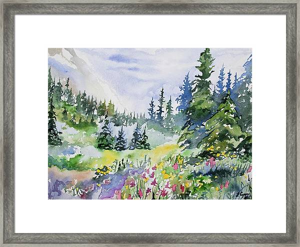 Watercolor - Colorado Summer Scene Framed Print