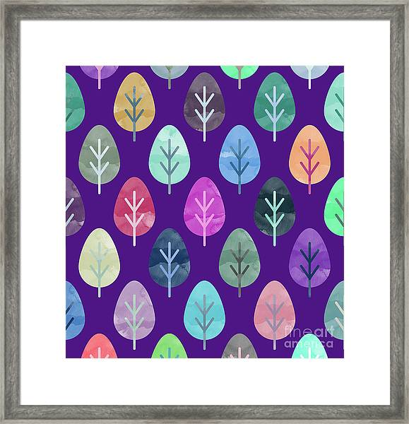 Watercolor Forest Pattern II Framed Print