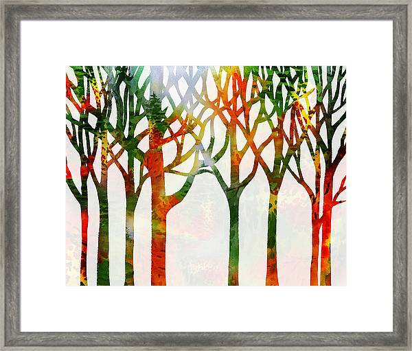 Watercolor Forest Silhouette Fall Framed Print