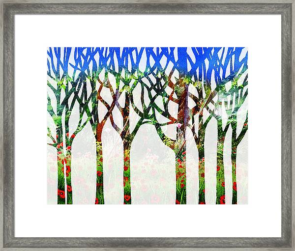 Watercolor Forest Silhouette Summer Framed Print