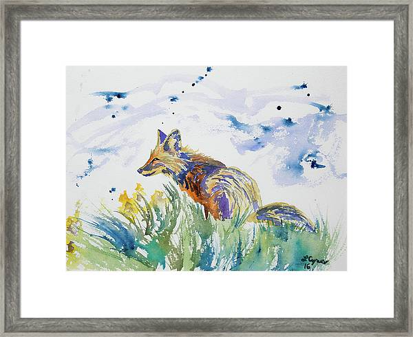 Watercolor - Fox On The Lookout Framed Print
