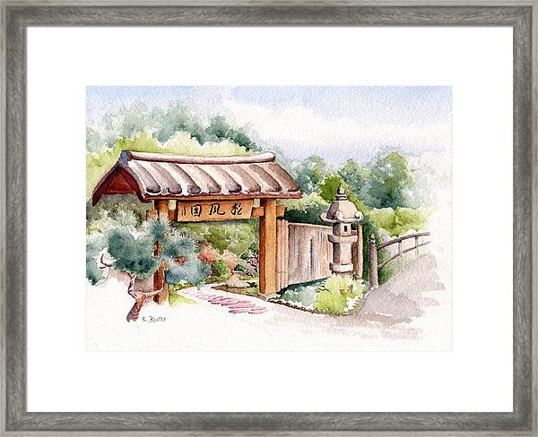 Watercolor Japanese Garden Gate Framed Print