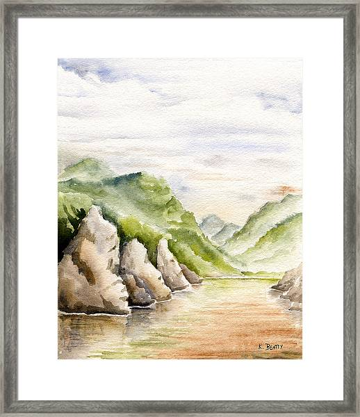 Watercolor Landscape Plein Air Framed Print