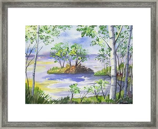 Watercolor - Minnesota North Shore Landscape Framed Print