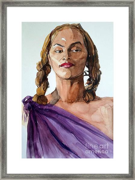 Portrait In Watercolor Of A Brooklyn Queen Framed Print