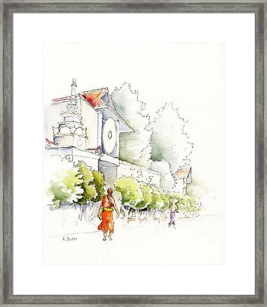 Watercolor Painting Of Monk Framed Print