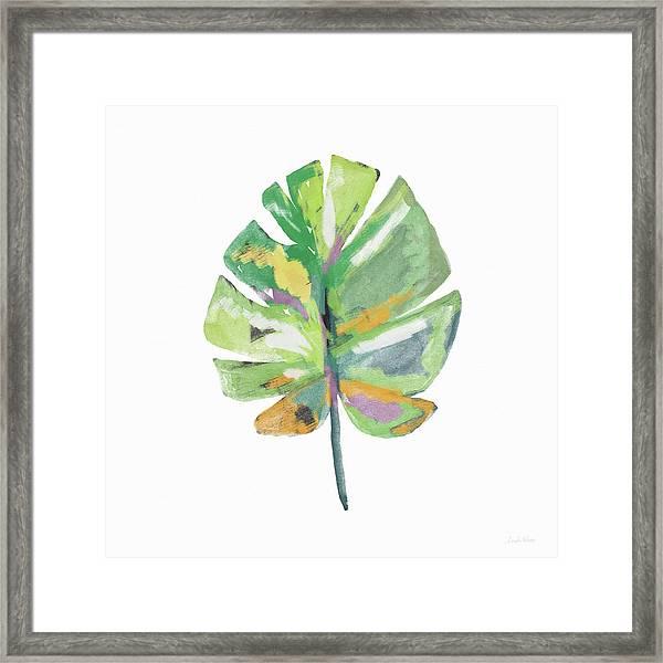Watercolor Palm Leaf- Art By Linda Woods Framed Print