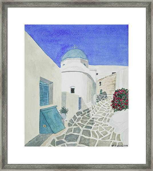 Watercolor - Paros Church And Street Scene Framed Print