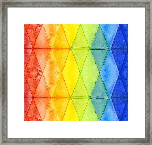 Watercolor Rainbow Pattern Geometric Shapes Triangles Framed Print