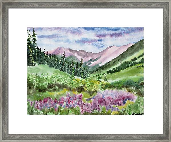 Watercolor - San Juans Mountain Landscape Framed Print