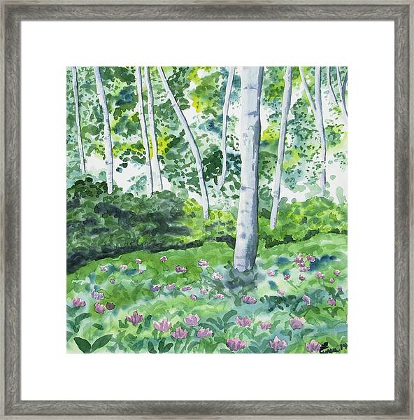 Watercolor - Spring Forest And Flowers Framed Print