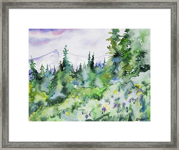 Watercolor - Summer In The Rockies Framed Print