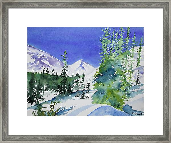 Watercolor - Sunny Winter Day In The Mountains Framed Print