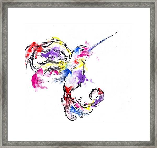 Watercolour Hummingbird Framed Print