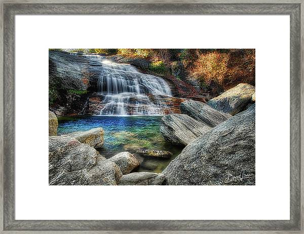 Framed Print featuring the photograph Waterfall And Autumn Color by David A Lane