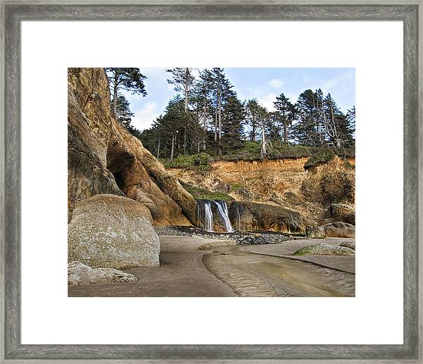 Waterfall At Hug Point State Park Oregon Framed Print