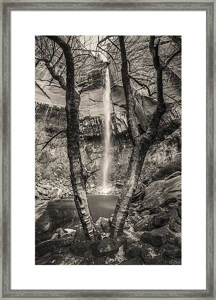 Waterfall At Upper Emerald Pool Framed Print